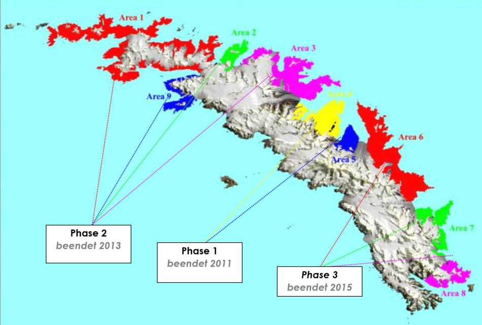 Gletscher unterteilen die Insel und trennten die Rattenpopulationen. Aufgrund der geografischen Umstände und aus finanziellen Gründen wurde das Projekt in insgesamt drei Köderphasen eingeteilt. Bild: South Georgia Heritage Trust