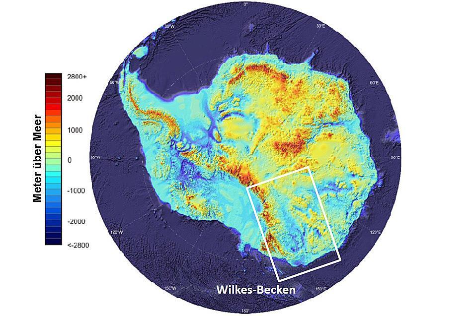 Die Lage des subglazialen Wilkes-Becken, das bis zu 1'000 m tief liegt.