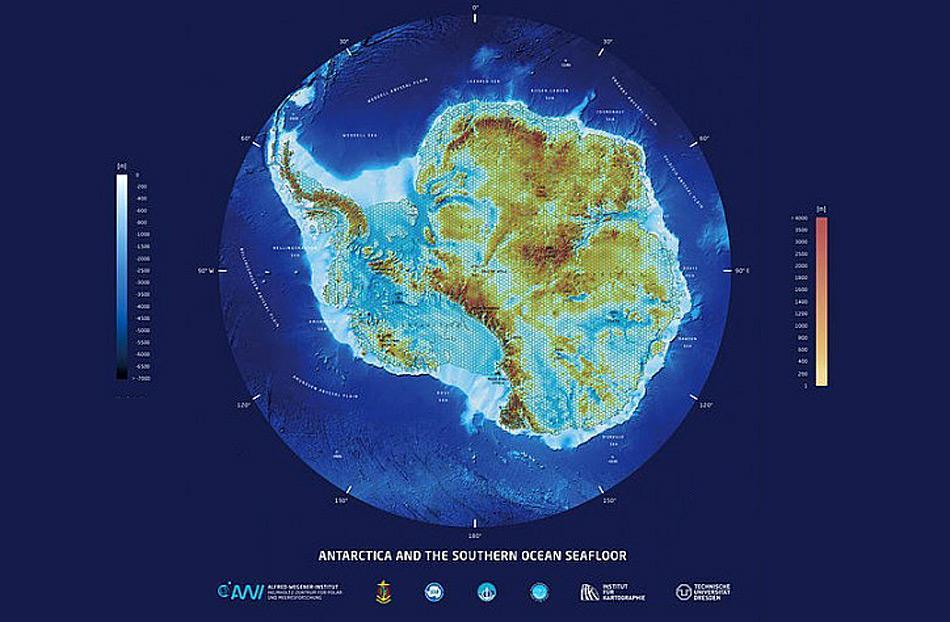3D-Karte des Antarktischen Kontinents und des umgebenden Südpolarmeers. Foto: Lars Radig
