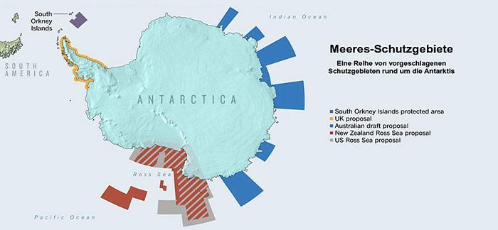 So sollen die Schutzgebiete rund um die Antarktis aussehen, wenn es nach den Wünschen der Wissenschaftler geht.