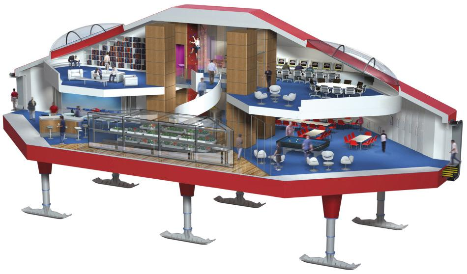 Die Station Halley VI besteht aus 8 Modulen, die Labors, Schlafstätten und auch Freizeiträume beinhalten. Sogar eine grosse Bibliothek ist am Ende der Modulkette zu finden. Die Mitte besteht aus dem Freizeitbereich mit Kantine, Computerplätzen und anderen Freizeitmöglichkeiten. Bild: Hugh Broughton Architects