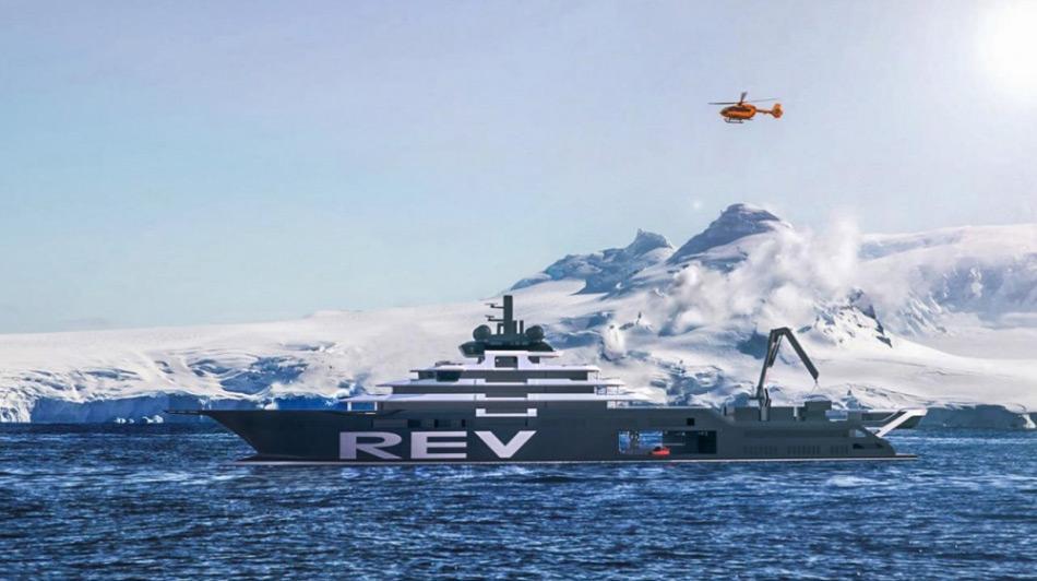 Das neu geplante Schiff REV soll die höchst mögliche Eisklasse aufweisen und nach den neuesten Vorgaben des IMO Polar Code konstruiert werden. Dadurch soll es in mitteldickem einjährigem Eis operieren können. Bild: www.rosellinisfour-10.no