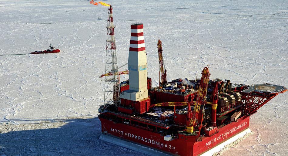 Das Prirazlomnoye-Ölfeld liegt ind er Pechorasee, südlich von Nowaja Zemlya. Die Plattform selbst wurde 2013 in Betrieb genommen und war die erste ihrer Art für die Förderung von russischem Öl. Bild: Sputnik / Alexei Danichev