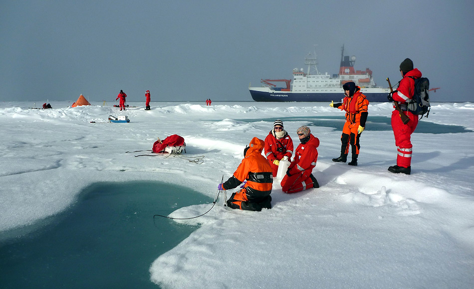 Neben den Bohrlöchern ins Eis beprobten die Forscher auch die Schmelztümpel und entnahmen Wasser und Eis aus diesen. Eine Person wurde dabei immer als Bärenwache aufgestellt. Bild: Mar Fernandez
