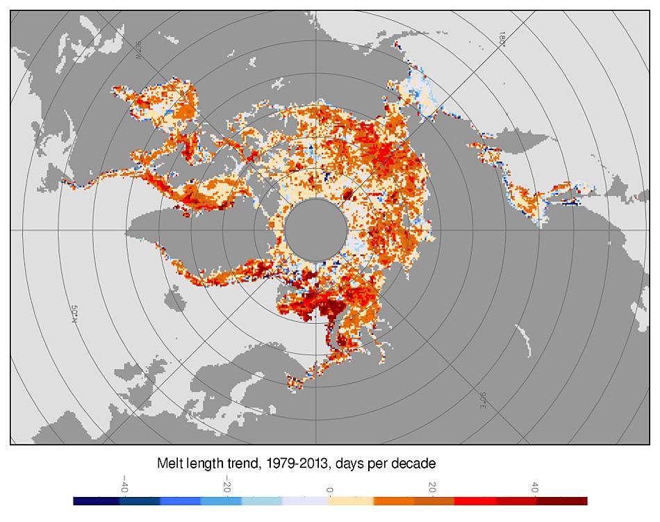 Die Karte zeigt die Veränderungen in der Schmelzsaison der letzten 25 Jahre. Rote Gebiete haben längere Schmelzperioden, blaue Stellen zeigen kürzere Perioden. © Julienne Stroeve