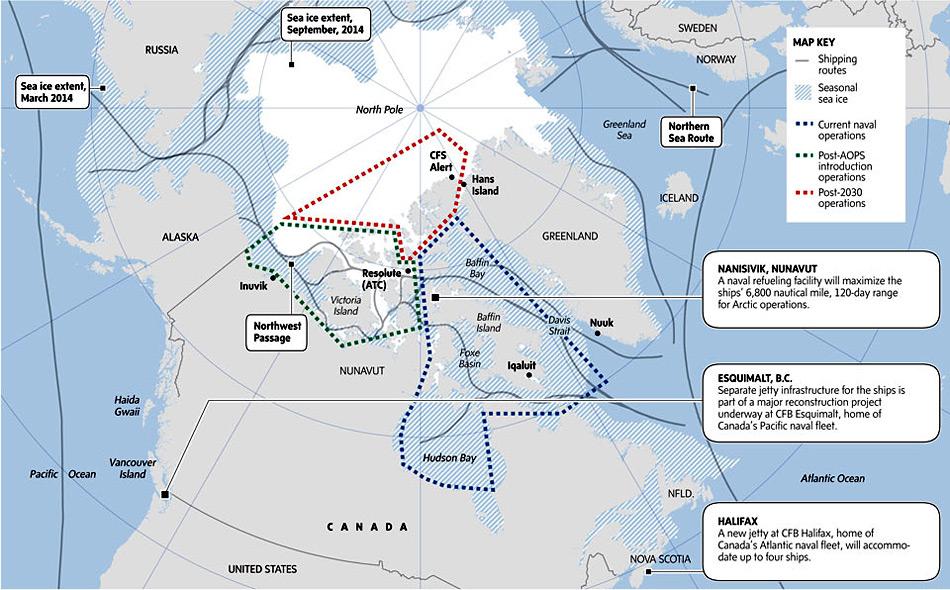 Die Pläne sehen eine Ausweitung der Operationen in arktischen Gewässern durch den Einsatz der AOPS bis zum Nordpol bis 2030 vor (rote Linie). Bild: The Globe and Mail
