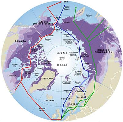 Während «Arctic Fibre» und «Arctic-Link» (rot) durch die Nordwest-Passage laufen, führt das russische Seekabel «Rotax» (blau) durch die Nordost-Passage