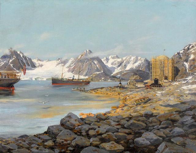 Das Basislager der legendären Expeditionvon Salomon A.auf Danskøya im Nordwesten Spitzbergens:
